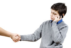 The guy shakes hand with Stock Photos