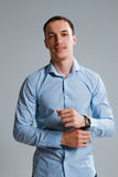 A guy in a shirt on a white background Royalty Free Stock Photo