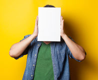 Guy in shirt with white board Stock Photo