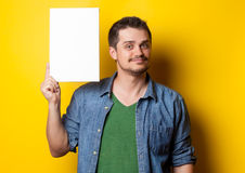 Guy in shirt with white board Stock Images