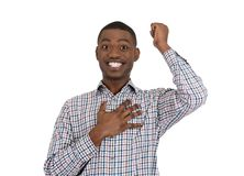 Guy shocked and surprised with hand on chest Stock Photography