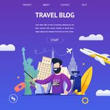 Guy Shoots Video Travel Blog to Another Country. Banner Illustration Bearded Man in Camera, Background Attractions Different Countries, Tells Online Most stock illustration