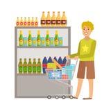 Guy Shopping For Alcoholic Drinks-, Einkaufszentrum-und Kaufhaus-Abschnitt-Illustration Stockfotografie
