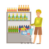 Guy Shopping For Alcoholic Drinks, shoppinggalleria- och varuhusavsnittillustration Arkivbild