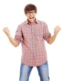 Guy shouts of joy. Victory screaming of latin fan. Isolated on white background, mask included Stock Photo