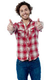 Guy showing double thumbs up Royalty Free Stock Images