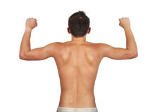 Guy showing muscles Royalty Free Stock Photo