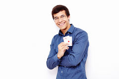 Guy showing playing cards Royalty Free Stock Photography