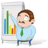Guy showing a statistics board vector illustration