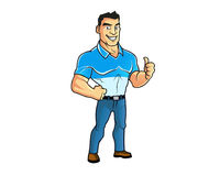 Guy Showing Thumb Up Cartoon muscular ilustração do vetor