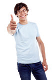 Guy showing thumb up sign Stock Photos