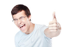 Guy showing thumbs up sign Stock Image