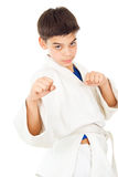 Guy shows fighting techniques. Protection Royalty Free Stock Images