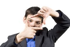 Guy shows his hands gestures Stock Photos