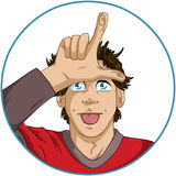 Guy Shows Loser Signal With His Fingers. A vector illustration of a guy giving a loser sign with his fingers on his forehead royalty free illustration