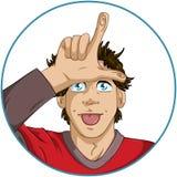 Guy Shows Loser Signal With le sue dita Immagini Stock Libere da Diritti