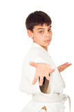 Guy shows techniques of taekwondo. Guy shows taekwondo techniques isolated Stock Images