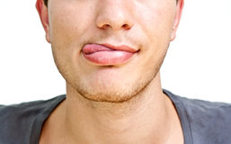 Guy shows tongue Royalty Free Stock Images