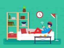 Guy sick lies on couch. Man with thermometer. Vector illustration Stock Photography