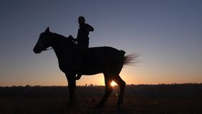 Guy sits on a horse and gives him two legs . Slow motion. Silhouette. Side view. Guy sits on a horse and gives him two legs horse agressive . Slow motion stock footage