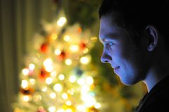 The guy is sitting at the laptop. On the background of the New Year tree royalty free stock image