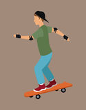 Guy skater with cap gloves Royalty Free Stock Image