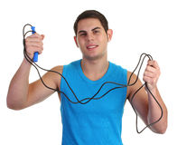 Guy with a skipping rope Stock Image