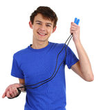 Guy with skipping rope Royalty Free Stock Photography