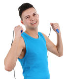 Guy with a skipping rope Stock Photos