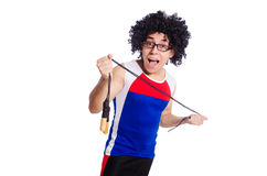 Guy with skipping rope isolated on white Royalty Free Stock Photography