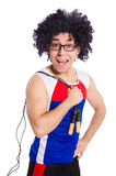Guy with skipping rope isolated on white. Guy with skipping rope on white royalty free stock photo