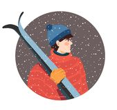 Guy with skis royalty free illustration
