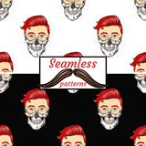 Guy and skull. Seamless patterns. Stock Images