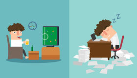 The guy sleeping  late and taking a nap during work illustration Stock Photography
