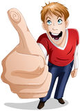 Guy Smiles With Thumbs Up. A  illustration of a young guy giving a thumbs up and smiling Royalty Free Stock Photography