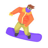 Guy On Snowboard, Part Of Teenagers Practicing Extreme Sports For Recreation Set Of Cartoon Characters Royalty Free Stock Image