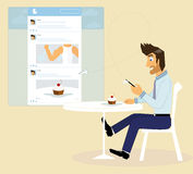 A guy in social networking Royalty Free Stock Images