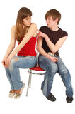 A guy is sorry to a beautiful girl. Isolated on whrte Royalty Free Stock Photo