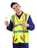 Guy with a spanner and cables Stock Photo