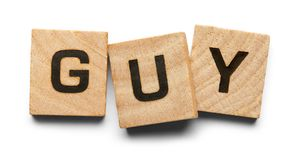 Guy Wood Tiles. Guy Spelled with Wood Tiles Isolated on a White Background Royalty Free Stock Photography