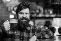 Guy spend leisure in bar, defocused background. Man on happy smiling face sit in bar or pub near bar counter. Hipster. Cheers concept. Guy spend leisure in bar royalty free stock photos
