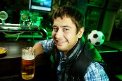Guy at sport bar Royalty Free Stock Photography