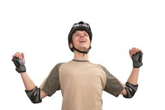 Guy in sports helmet with rised hands Royalty Free Stock Photography