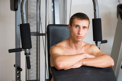 Guy in a sports simulator Royalty Free Stock Image