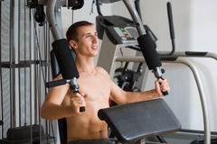 Guy in a sports simulator Stock Photo