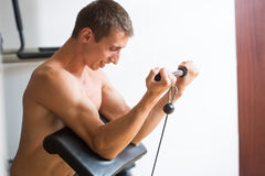 Guy in a sports simulator Stock Images