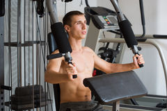 Guy in a sports simulator Royalty Free Stock Photography
