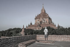 The guy standing on the old building. Bagan Myanmar Burma Stock Photos