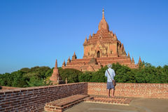 The guy standing on the old building. Bagan Myanmar Burma Royalty Free Stock Photos