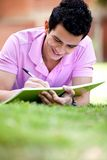 Guy studying outdoors Stock Images